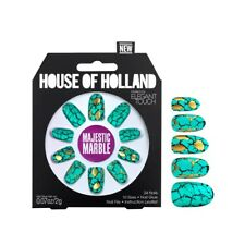 House of Holland Majestic Marble False Nails by Elegant Touch Gold Turquoise