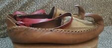 Vintage Serbian Leather Opanak Curled Horn Toe Traditional Opanke Shoes As Is