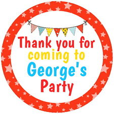 CIRCUS TENT BUNTING PERSONALISED GLOSSY CHILDREN'S PARTY STICKERS, SEALS LABELS