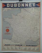 AFFICHE PUB ANCIENNE QUINQUINA DUBO DUBON DUBONNET CARTE DE FRANCE  VIN