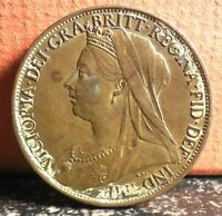 High Grade Red and Brown Queen Victoria 1899 Great Britain One Penny KM# 790