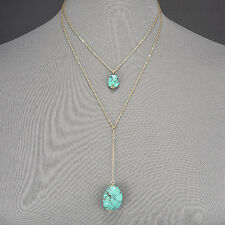 Gold Thin Chain Double Layered Turquoise Stone Pendant Bohemian Style Necklace