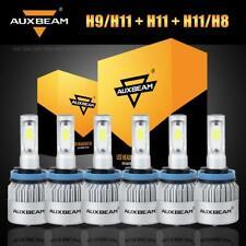 6x Auxbeam H9+H11+H8 Hi-Lo Beam LED Headlights Fog Bulbs for Toyota Tacoma 16-19