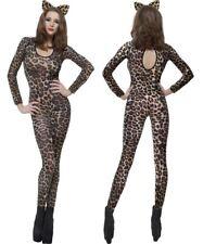 Ladies Cheetah Leopard Brown Print Bodysuit Adult Costume Catsuit (26811)