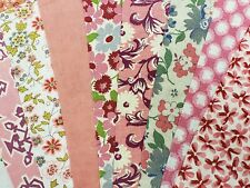 """Best 20 Vintage All Pink Feedsack Fabric Quilt 5 x 8"""" Flour Sack Charm Pieces"""