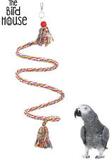 HAPPY PET FLEXIBLE HANGING SPIRAL ROPE PERCH BELL CAGE ACCESSORY PARROT 23085