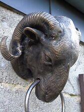 tête de bouc, bélier , buste en fonte pat bronze , statue ... porte serviette