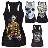 Women Summer Skull Print Singlet Vest Tank Tops Punk Rock T-Shirt MDMD