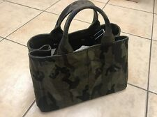Authentic PRADA Canapa Camouflage Green Large Tote Messenger Bag