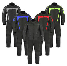 Mens Motorcycle Motorbike Waterproof Textile Armoured Jacket & Trousers Suit Set