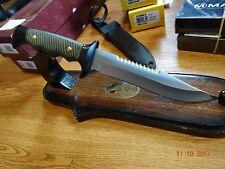 "MUELA 10 3/4"" SURVIVAL KNIFE 420C STAINLESS BLADE SAWBACK  BLADE OD GREEN HANDL"