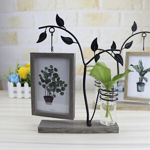 """Photo Frame. Double-sided 4x6"""" with glass vase. Holds two photos"""