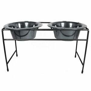 Platinum Pets Modern Double Diner Stand with Two 32 oz. Rimmed Bowls - NEW