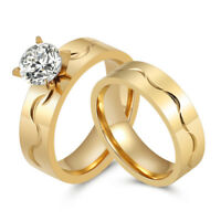 2Pcs Stainless Steel Gold Wedding Engagement Rings Band Set 6MM AAA CZ Size 7-10
