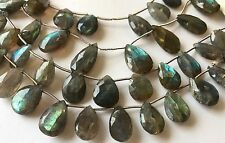 "Labradorite faceted briolett beads 12x16mm beads  9"" long"