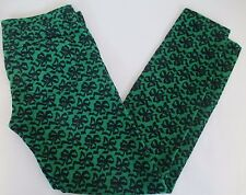 J.CREW Toothpick Size 24 Cord in Ribbon Bow Print Green Black #608B