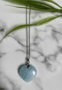 Aquamarine Gemstone Heart Pendant Crystal Necklace Love Silver Plate Chain Stone