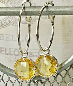 Beautiful Yellow & Silver Lever Back Hoop Dangle Earrings.