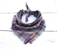 Buffalo Purple Frayed Plaid Puppy Dog Bandana - Tie on Classic Scarf-Small-Large
