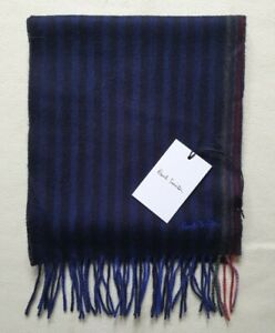 PAUL SMITH SCARF BLUE SIGNATURE STRIPE CASHMERE NEW WITH TAG MADE in UK RRP £140