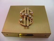 Amazing Vintage $ Money Sign Mirror Metal Change Box ~ Incredible Design & Rare