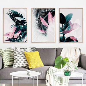 Home Decor Print Paper Canvas Wall Art Dark green tropical leaves 3 sets Poster