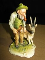Vintage/Antique Borsato Figurine of a Man and a Goat Signed, Excellent Condition