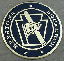 "US Navy Keystone Squadron 24 Self Adhesive Metal Emblem Enamel Finish 3 1/8"""