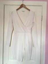 Miss Selfridge Womens UK 8 White Cream Wrap Dress Long Sleeved Party Work