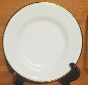"""Pier 1 GOLD LINE Bread plate, 5 7/8"""", Beaded, Beaded, Gold Rim, Excellent"""