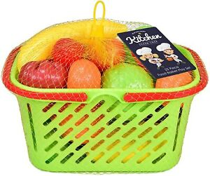 23Pc Plastic Fruit Veg Shopping Basket And Handles Pretend Food Role Play Toy