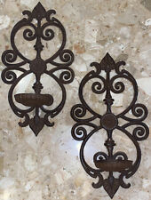 """2 Vintage Brown Iron Wall Sconces Pillar Candle Holders Floral Scroll 15x8"""""""