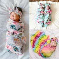 2PCS 0-3M Newborn Baby Boy Girl Kids Sleeping Blanket Swaddle Wrap Headband Set