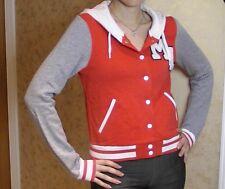 BNWT H&M Varsity Jacket Hoodie Cardigan Red Grey & White Baseball 8 Sweatshirt
