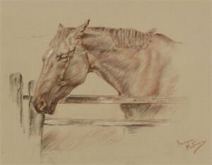 Franco Matania (1922-2006)-Signed 20th Century Chalk Drawing, Horse at the Gate