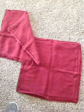 Pottery Barn Deep Red Linen Pillow Cover With Silk Flange