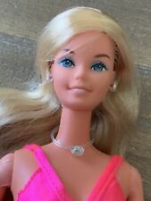 Superstar Barbie 1976 Doll Pink Gown, Boa, Rhinestone Jewelry VGC PRETTY!