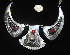 BIG Vintage Old Pawn Zuni Navajo Custom Necklace Breastplate Sterling Coral Onyx