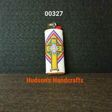 New listing 00327 Beaded Lighter Case Fits A Regular Bic Makes A Unique Gift Free Shipping.