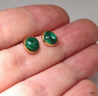 14K Solid Yellow Gold Round 6mm Malachite Stud Earrings - Summer Sale