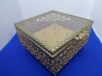 ANTIQUE VINTAGE HINGED GILT METAL & GLASS DRESSING TABLE JEWELLERY BOX