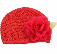 New BABY Adorable RED Crochet Flower CAP Hat 0 To  6 Months 0/6M