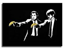 "BANKSY PULP FICTION BANANA QUALITY *FRAMED* CANVAS ART 20x16"" Art -"