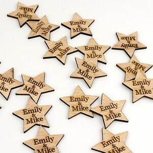 Personalised Rustic Wooden Star Table Decoration Vintage Wedding Favour Confetti