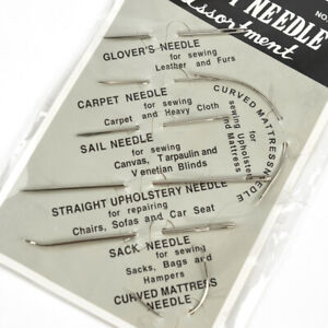 7PCs Repair Sewing Needles Kit for Upholstery Carpets Canvas Leather Curved US