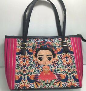 Embroidered Frida Kahlo Bag Jute Handbag 100% Mexican Art Purse