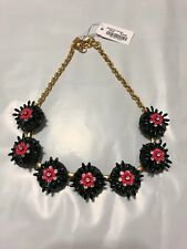 NWT J Crew Sweet Flower StaTement Necklace Dusty Sea Gray Black Coral