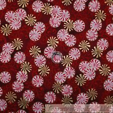 BonEful Fabric FQ Cotton Quit Red White GOLD Metallic Peppermint Xmas Candy Sale