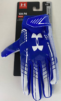 Under Armour UA F6 Youth Large Football Gloves Glue Grip Royal Blue/White YLG