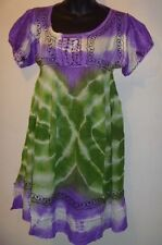 Mini Dress Fits S M L XL Purple Green Baby Doll Style Empire Tie Dye 471 NWT